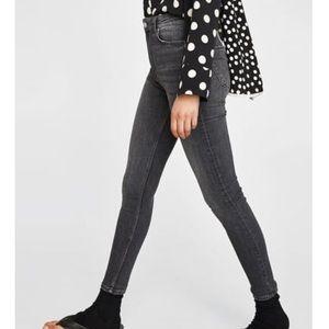 Zara High Rise Skinny Jeans Black/Gray/Charcoal